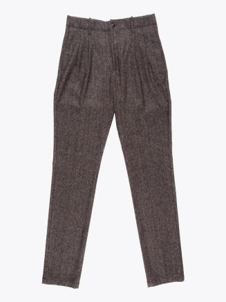 Giab's Archivio Verdi Wool Pleated Pants Herringbone Brown 1