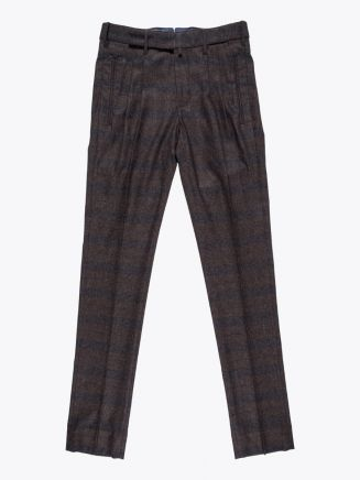 Giab's Archivio Cocktail Wool Pleated Pants Check Brown / Navy Blue 1