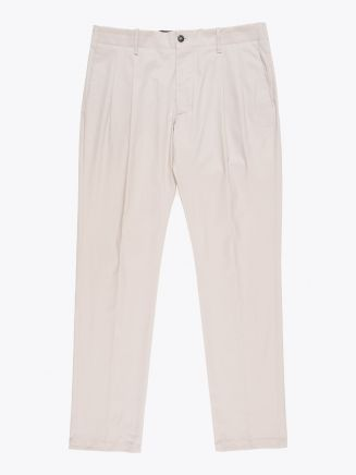 Giab's Archivio Verdi Slim-Fit Stretch Cotton Pleated Pants Beige 1