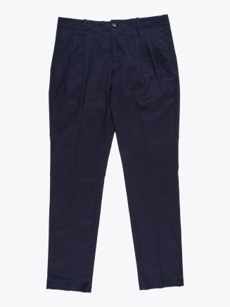 Giab's Archivio Verdi Slim-Fit Stretch Cotton Pleated Pants Navy Blue 1
