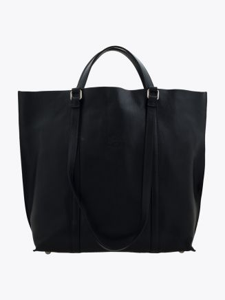 Il Bisonte A2185 Woman's Cowhide Leather Tote Bag Black Front