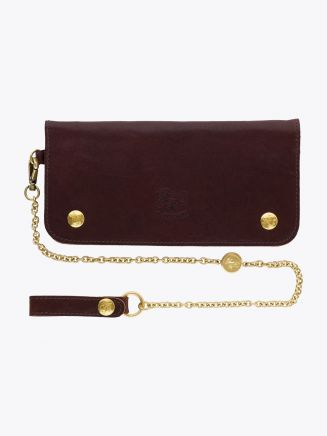 Il Bisonte C0486 Vintage Cowhide Leather Chain-Wallet Brown with Chain