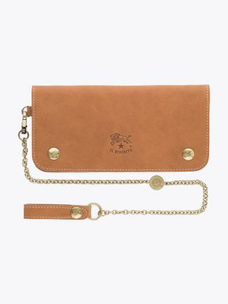 Il Bisonte C0486 Vintage Cowhide Leather Chain-Wallet Natural Front with Chain