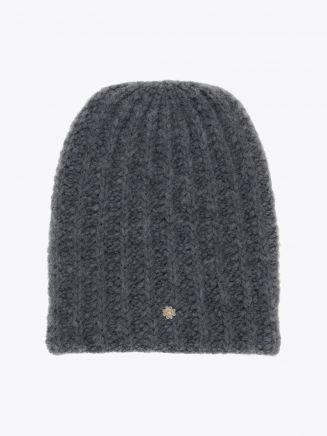 Lali Piumosa Beanie Ribbed Cashmere Grey with Quatrefoil Silver 1