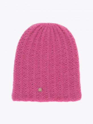 Lali Piumosa Beanie Ribbed Cashmere Pink with Quatrefoil Silver 1