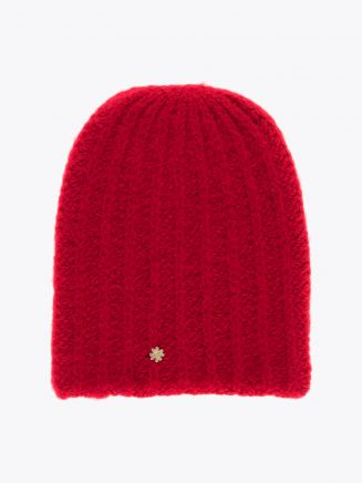 Lali Piumosa Beanie Ribbed Cashmere Red with Quatrefoil Silver 1