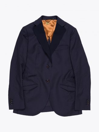Maurizio Miri Brunilde Semi Canvas Wool Blazer Navy Blue 1