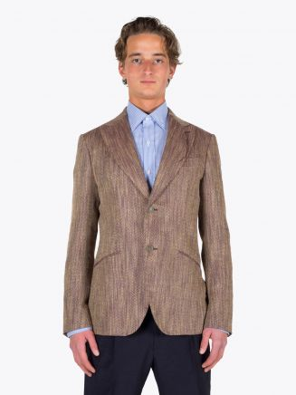 Maurizio Miri Keanu Full Canvas Silk, Lin, and Cotton Blazer Beige / Bordeaux 1