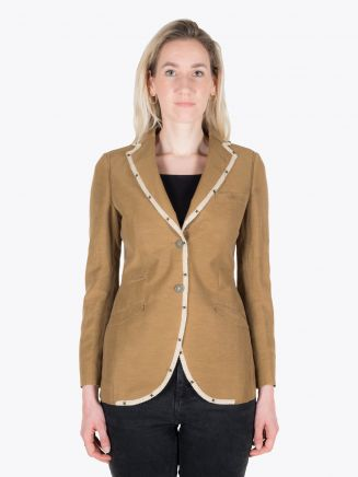 Maurizio Miri Michelle R10 Full Canvas Cupro, Linen and Cotton Blazer Tobacco 1