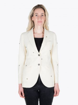 Maurizio Miri Michelle Star Semi Canvas Wool Blazer Off White 1