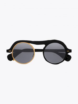 Masahiromaruyama Monocle MM-0051 No.1 Sunglasses Black / Gold Front View