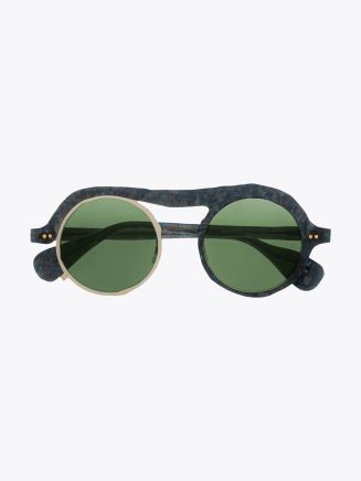 Masahiromaruyama Monocle MM-0051 No.2 Sunglasses Marble Blue / Silver FRONT VIEW