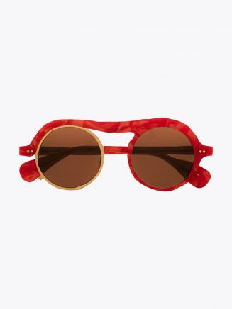 Masahiromaruyama Monocle MM-0051 No.3 Sunglasses Marble Red / Gold Front View