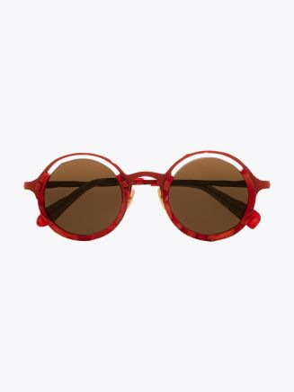 Masahiromaruyama Monocle MM-0053 No.3 Sunglasses Marble Red / Red Front View