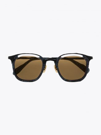 Masahiromaruyama Monocle MM-0057 No.3 Sunglasses Marble Blue / Black Front View
