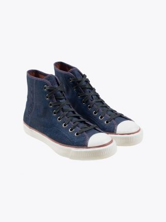 Tiger Layup 72 IND Canvas Sneakers Indigo/Navy Front Three-quarters