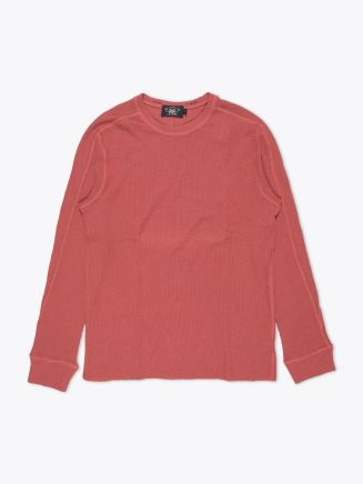 Double RL Long Sleeved Crew Neck Textured Jersey Hastings Red Front