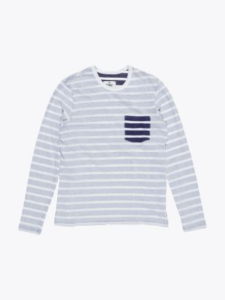 Reigning Champ Long Sleeve Pocket Tee White/Navy Stripe Front