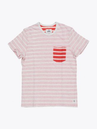 Reigning Champ Short Sleeve Pocket Tee Heather Ash/Red Stripe Front
