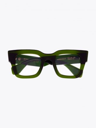 Robert La Roche + Christoph Rumpf Midnight Squared Optical Glasses Crystal Emerald Green Front View