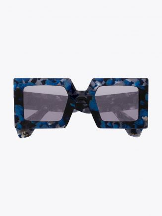 Robert La Roche + Christoph Rumpf Godfather Squared Sunglasses Pearl Blue Marble Front View