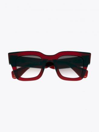 Robert La Roche + Christoph Rumpf Midnight Squared Sunglasses Crystal Ruby Red Front View