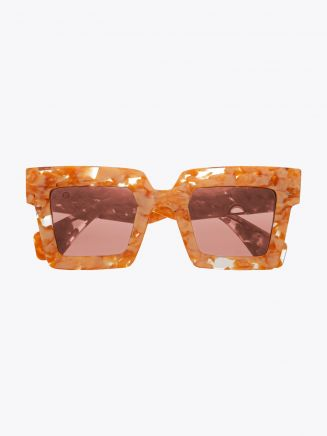 Robert La Roche + Christoph Rumpf Moonstruck Cateye Sunglasses Pearl Peach Marble Front View