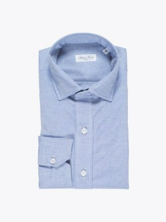 Salvatore Piccolo Slim Fit Collar PC Open Cotton Oxford Shirt Blue