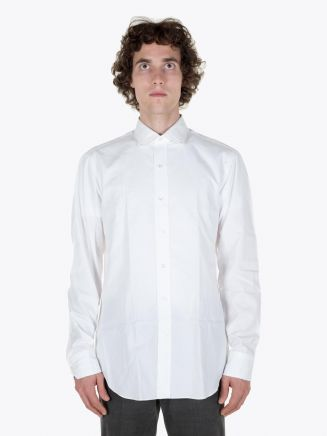 Salvatore Piccolo PC Open Collar Shirt Washed White Full View