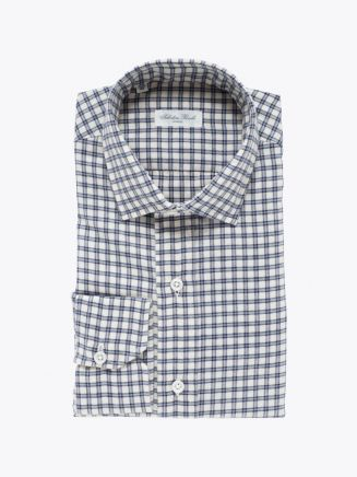Salvatore Piccolo Slim Fit Collar PC-Open Checked Cotton Flannel Shirt Ecru