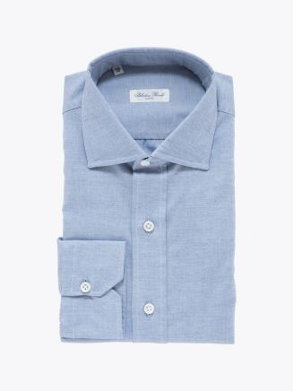 Salvatore Piccolo Slim Fit Collar PC-Open Cotton Oxford 100 Shirt Blue