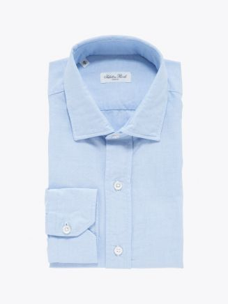 Salvatore Piccolo Slim Fit Collar PC-Open Cotton Oxford 120 Shirt Light Blue