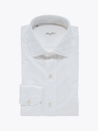 Salvatore Piccolo Slim Fit Collar PC-Open Cotton Oxford 120 Shirt White