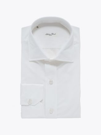 Salvatore Piccolo Slim Fit Collar PC-Open Cotton Poplin Shirt White Stone
