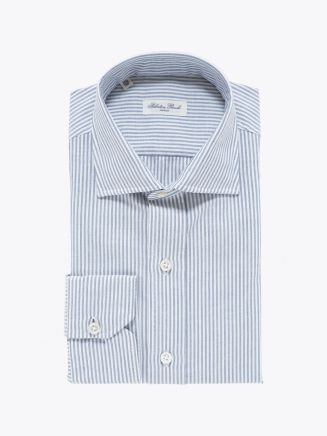 Salvatore Piccolo Slim Fit Collar PC-Open Striped Blue Cotton Oxford Shirt White