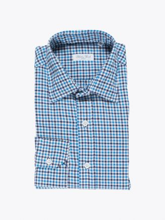 Salvatore Piccolo Shirt Flannel Cotton Checked Blue