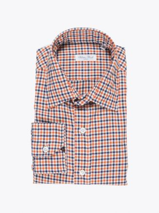 Salvatore Piccolo Shirt Flannel Cotton Checked Orange Blue