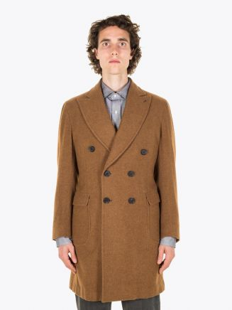 Salvatore Piccolo Unstructured Double-Breasted Wool Coat Brown Full Vieu
