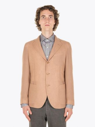 Salvatore Piccolo Unstructured Varenne Wool Blazer Sand Full Vieu