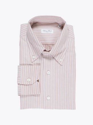 Salvatore Piccolo Shirt Button-Down Collar Oxford Striped Red