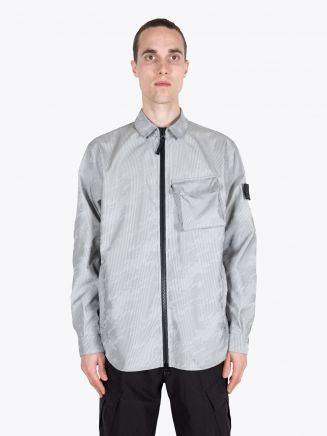 Stone Island Shadow Project 41104 Lenticular Jacquard Overshirt Black 1