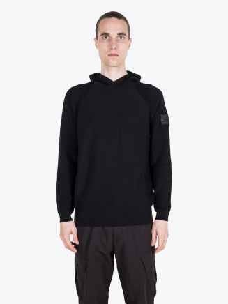 Stone Island Shadow Project 502A4 Mercerised Cotton Holster Pocket Hoodie Knit Black 1