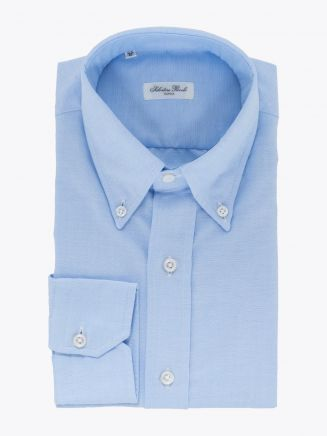 Salvatore Piccolo Slim-Fit Button-Down Oxford 120 Shirt Blue 1