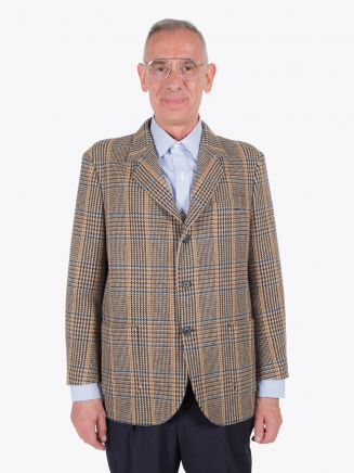 Salvatore Piccolo Unstructured Wool Blazer Prince of Wales Checked Beige / Brown 1
