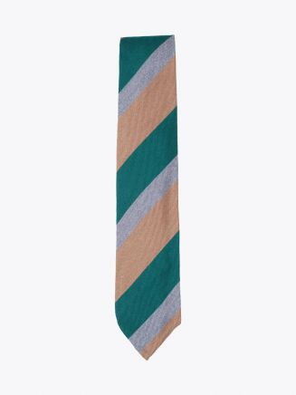 Salvatore Piccolo Tie Striped Wool and Silk Beige Green Front