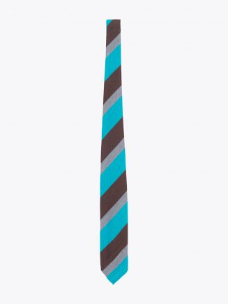 Salvatore Piccolo Ties Striped Wool and Silk Brown / Turquoise