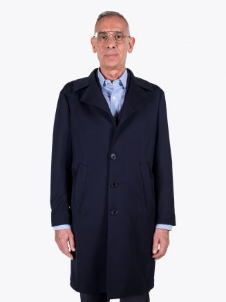 Salvatore Piccolo Wool-Blend Overcoat Navy Blue 1