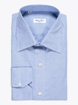 Salvatore Piccolo Slim Fit Collar PC-Open Cotton Oxford Shirt Navy Blue