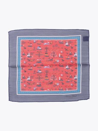 Salvatore Piccolo Pocket Square Printed Wool and Silk Navy