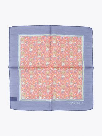 Salvatore Piccolo Pocket Square Printed Wool and Silk Blue